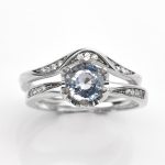 แหวนพลอยแท้ แหวนเงินแท้925 พลอยแท้อะความารีน (Aquamarine) ออกแบบเป็นแหวนคู่ 1 วง