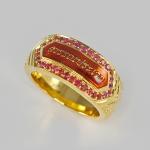 แหวนทอง สลักนามสกุล ประดับพลอยทับทิม