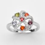 แหวนพลอยแท้ แหวนเงิน925 พลอย แฟนซี ประดับเพชร CZ ชุบทองคำขาว