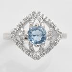 แหวนพลอยแท้ แหวนเงิน925 ชุบทองคำขาวฝังพลอยอะความารีนแท้ ประดับเพชร CZ