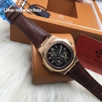 PATEK Nautilus 5712R/001 Power Reserve Moonphase Calendar - ฺRose Gold Brown Leather Strap