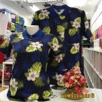 เสื้อโปโลลายดอก ดอกมะพร้าว เนื้อผ้า COTTON100% เหลือ SIZE หญิง XL, ชาย L