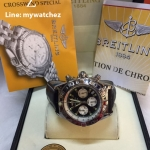 Breitling 1884 Chronomat Black Dial and Leather Strap Ref # AB0110