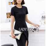 เสื้อผ้าแฟชั่นเกาหลี Lady Ribbon Thailand 's Made Lady Taylor Minimal Chic Striped Dress