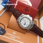 PATEK Nautilus 5712/1A Power Reserve Moonphase Calendar - ฺWhite dial and leather Strap