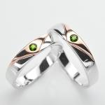 แหวนคู่รักฝังพลอยแท้ แหวนเงินแท้ 925 ชุบทองคำขาว ฝังพลอยมรกต