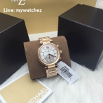 MICHAEL KORS Sawyer Mother of Pearl Crystal Pave Dial Rose Gold-Tone Ladies Watch MK6282