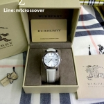 Burberry Check Stamped Leather Ladies Watch BU9128 White/Silver