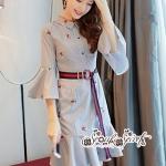 เสื้อผ้าแฟชั่นเกาหลี Lady Ribbon Thailand Seoul Secret Say'...T-Shirt Strip Fluted Embroidery Fabric Lace Dress