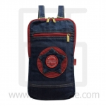 Jeans Denim Backpack, graphics pattern2, Medium Size, Red