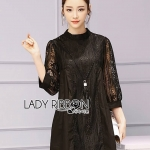 เสื้อผ้าแฟชั่นเกาหลี Lady Ribbon Thailand Lady Ribbon's Made Lady Meghan Lace and Cotton Black Mini Dress