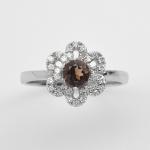 แหวนพลอยแท้ ตัวเรือนเงินแท้ 925 ชุบทองคำขาว พลอยควอตซ์ ล้อมด้วยเพชร CZ