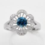 แหวนพลอยแท้ แหวนเงิน925 ชุบทองคำขาว พลอยลอนดอนบลูโทปาส ประดับเพชร CZ