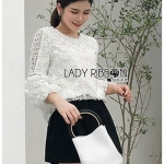 เสื้อผ้าแฟชั่นเกาหลี Lady Ribbon Thailand Lady Ribbon's Made Lady Katherina Vintage Chic Flower Lace Blouse