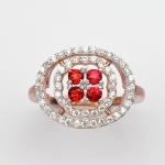 แหวนพลอยแท้แหวนเงิน925 พลอย แซฟไฟร์ ประดับเพชร CZ ชุบPink Gold