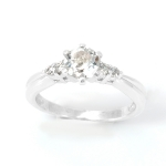 แหวนพลอยแท้ แหวนเงิน925 พลอยขาว ประดับเพชร CZ ชุบทองคำขาว