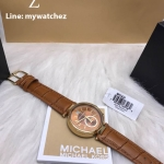 MICHAEL KORS Sawyer Amber Sunray Dial Amber Brown Leather Ladies Watch MK2424