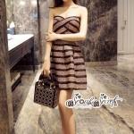 เสื้อผ้าแฟชั่นเกาหลี Lady Ribbon Thailand LUXURY by Seoul Secret ...Tie Minidress Stripes Crystal Layer Black Gorgeously