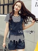🎀 Lady Ribbon's Made 🎀Lady Cindy Striped T-Shirt and Denim Tank Set