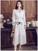 🎀 Lady Ribbon's Made 🎀 Lady Salma Summer Chill-Out White Cotton Dress