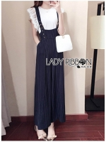 🎀 Lady Ribbon's Made 🎀Serena Belt-Strap Overall Jumpsuit with Lace Knit T-Shirt Set
