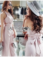🎀 Lady Ribbon's Made 🎀Lady Mia Sexy Minimal Baby Pink Crepe Jumpsuit