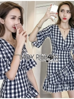 🎀 Lady Ribbon's Made 🎀 Lady Mina Korean Street Checked Ruffle Dress