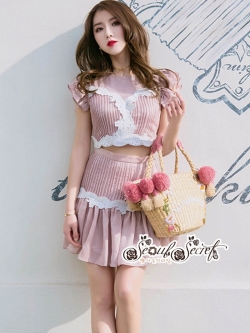 เสื้อผ้าแฟชั่นเกาหลี Lady Ribbon Thailand LUXURY by Seoul Secret ...Lady Sweet Pink Korea Style Lace Flower Embroidery Set