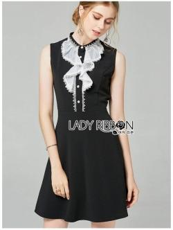 เสื้อผ้าแฟชั่นเกาหลี Lady Ribbon Thailand Lady Ribbon's Made Lady Veronica Ruffle-Neck Sleeveless Black Dress
