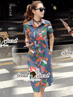 Seoul Secret Say's... Lippzy Denim ShirtDress