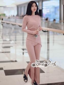 เสื้อผ้าแฟชั่นเกาหลี Lady Ribbon Thailand Seoul Secret Say'...T-Shirt With Pantyhose And Pink Sweet Set