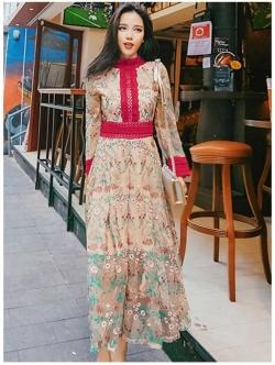 เสื้อผ้าแฟชั่นเกาหลี Lady Ribbon Thailand Lady Fancy Colourful Lace Maxi Dress