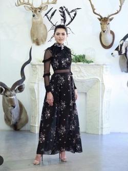 เสื้อผ้าแฟชั่นเกาหลี Lady Ribbon Thailand Normal Ally Present M.R.H Lilly silk chiffon printed dress