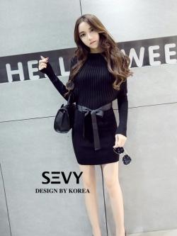 เสื้อผ้าแฟชั่นเกาหลี Sevy Off Shoulder Knit Wear Long Sleeve Mini Dress