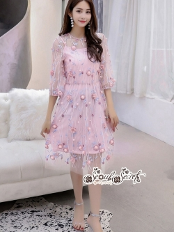 เสื้อผ้าแฟชั่นเกาหลี Lady Ribbon Thailand LUXURY by Seoul Secret ...Chiffon Dress Mesh Lace Embroidery Dimension Sweet Pink