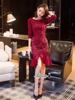 เสื้อผ้าแฟชั่นเกาหลี Lady Ribbon Thailand Korea Design By Lavida Aristocrat luxury lace shiny dress code8222