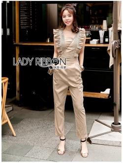 เสื้อผ้าแฟชั่นเกาหลี Lady Ribbon Thailand Lady Ribbon's Made Lady Janet Ruffle Beige Gold Jumpsuit