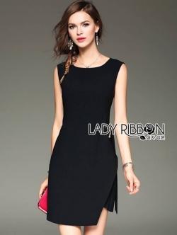 เสื้อผ้าแฟชั่นเกาหลี Lady Ribbon Thailand Lady Ribbon's Made Lady Minimal Chic Side-Belt Little Black Dress