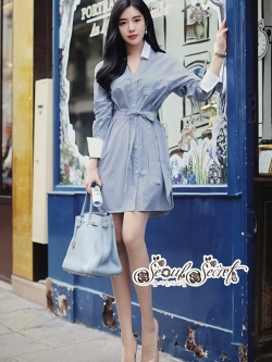 เสื้อผ้าแฟชั่นเกาหลี Lady Ribbon Thailand Seoul Secret Say'...Stripe Dress Shirt Blue Chic With White Collar