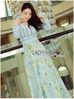เสื้อผ้าแฟชั่นเกาหลี Lady Ribbon Thailand Lady Elle Vintage Feminine Floral Printed Blue Dress
