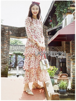เสื้อผ้าแฟชั่นเกาหลี Lady Ribbon Thailand Lady Ribbon's Made Lady Anne Little Red Floral Printed Ruffle Layered Dress