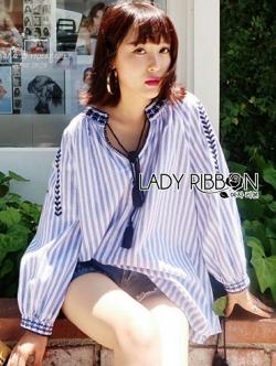 เสื้อผ้าแฟชั่นเกาหลี Lady Ribbon Thailand Lady Rachel Embroidered ZARA Blue Striped with Tassel