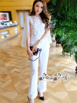 เสื้อผ้าแฟชั่นเกาหลี Lady Ribbon Thailand Seoul Secret Say'...Glass cloth Embroidery Lace Sleeve design White Set