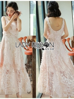 เสื้อผ้าแฟชั่นเกาหลี Lady Ribbon's Made Lady Olivia Elegant Chic Flower Embroidered Lace Cocktail Dress