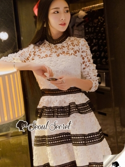 Seoul Secret Say's... Ladiest Star Layer Skirt Lace Dress