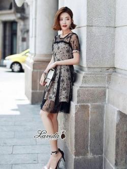 เสื้อผ้าแฟชั่นเกาหลี Lady Ribbon Thailand Korea Design By Lavida Blossom lace feminine dress