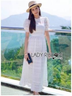 เสื้อผ้าแฟชั่นเกาหลี Lady Ribbon Thailand Lady Ribbon's Made Lady Camilla Vintage Style Embroidered and Laser-Cut White Cotton Dress