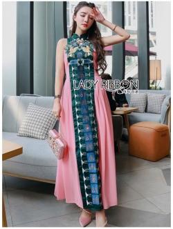 เสื้อผ้าแฟชั่นเกาหลี Lady Ribbon Thailand Lady Ribbon's Made Lady Anna Chinoise Two-Toned Embroidered Dress