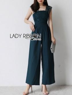 เสื้อผ้าแฟชั่นเกาหลี Lady Ribbon Thailand Lady Ribbon's Made Lady Veronica Feminine Chic Lace & Crepe Jumpsuit
