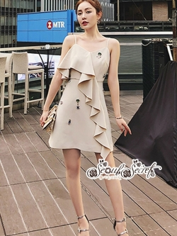 เสื้อผ้าแฟชั่นเกาหลี Lady Ribbon Thailand Seoul Secret Say'...Embroidered Linen Dress crystal Oblique
